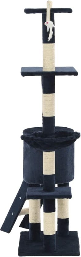 vidaXL Kattenkrabpaal met sisal krabpalen 138 cm donkerblauw