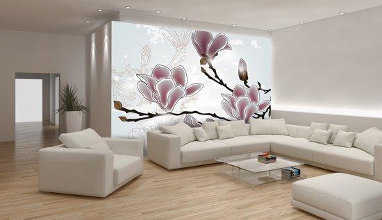Fotobehang Bloemen, Magnolia | Grijs | 104x70,5cm