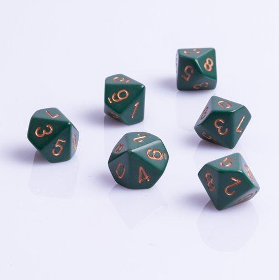 Afbeelding van het spel 10 Vlakken Tienzijdige Dobbelstenen Groen met Goud 16mm Set van 6 Stuks