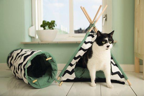 Beeztees Tipi Tent Kioni - Zwart/wit/groen - 50 x 50 x 80 cm.