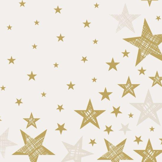 Kerst servetten Shining Star Cream - 20 stuks - wegwerpservetten