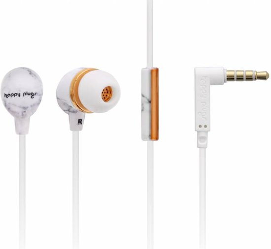 Happy Plugs Hoofdtelefoon in-ear White marble rose