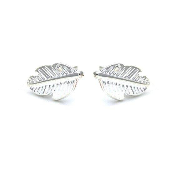 24/7 Jewelry Collection Veer Oorbellen - Blad - Leaf - Stud - Knopjes - Zilverkleurig