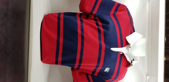 CANTERBURY STRIPE LOOP COLLARRUGBY S/S - M - RED/BLUE