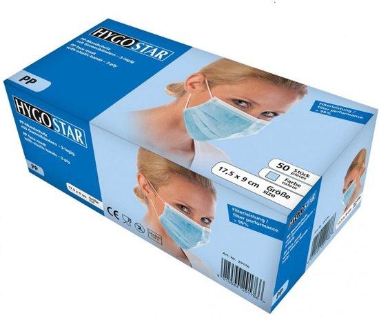 Mondmasker (medisch) 3-laags blauw 50 stuks met oorelastiek