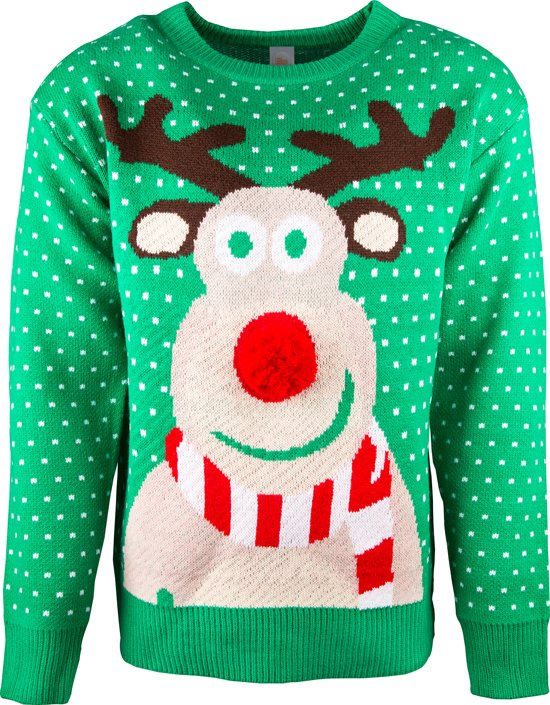 JAP Foute kersttrui - Rudolf met 3D neus voor volwassenen - Dames en heren - XS - Groen