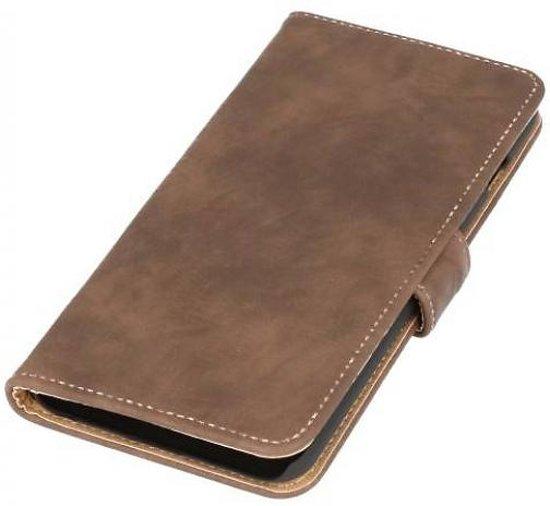 Mobieletelefoonhoesje.nl - Huawei Ascend G7 Hoesje Hout Bookstyle Donker Bruin in Alle