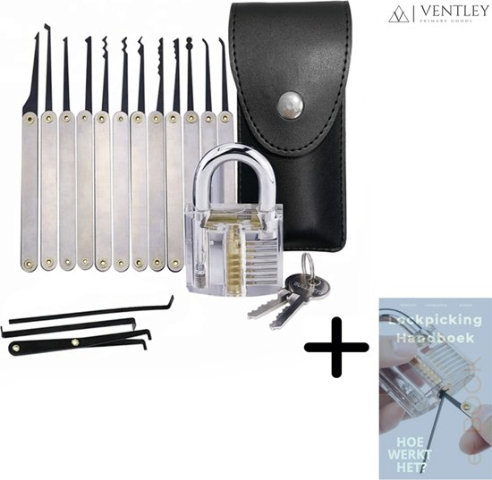 Lock picking set + e- Book handleiding - sloten - picking - locks - transparante sloten - lockpickset - lockpickingset - lockpicking - set van 20 delen - E boek