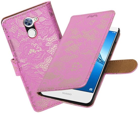BestCases.nl Huawei Y7 / Y7 Prime Lace booktype hoesje Roze in Musson