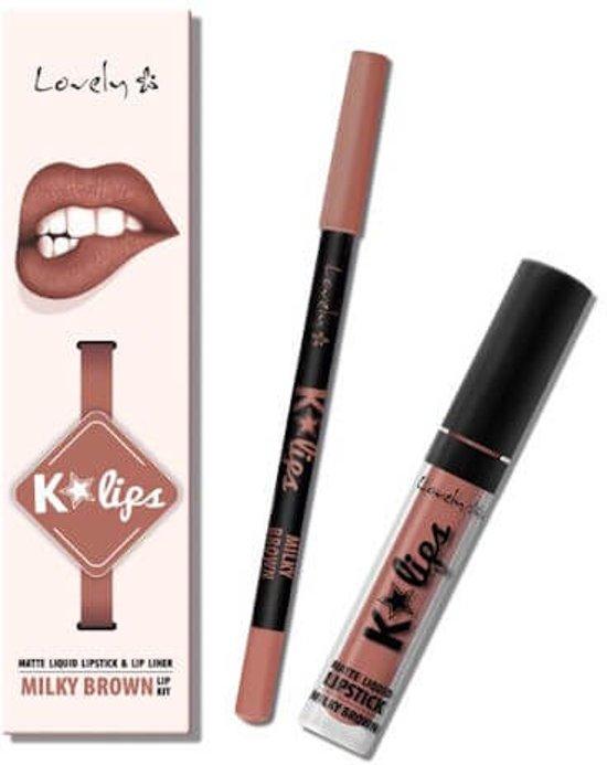 Lovely K-Lips Matte Liquid Lipstick & Lip liner Milky Brown