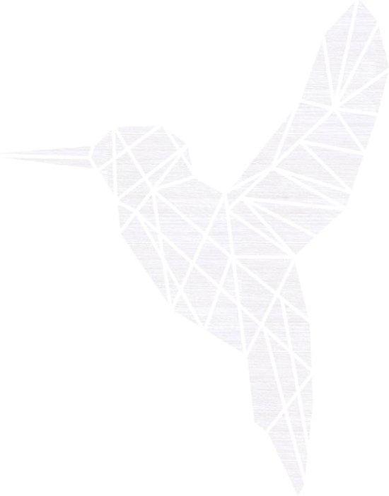 Vogel Geometrisch Vlak Hout 59 x 70 cm White wash - Wanddecoratie