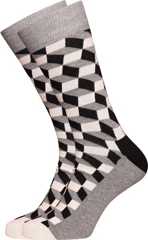 ce5162f2bd3 bol.com | Happy Socks Filled Optic Sokken - Grijs/Zwart/Wit - Maat 36-40