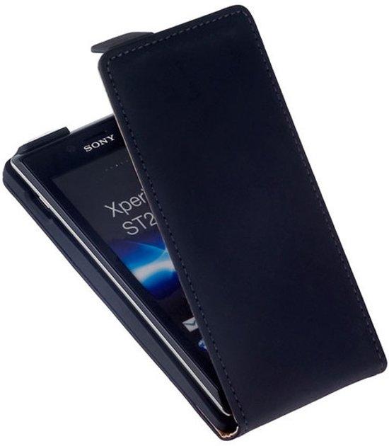 LELYCASE Premium Flip Case Lederen Cover Bescherm Hoesje Sony Xperia J Zwart