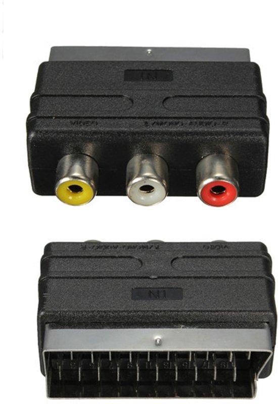 scart naar tulp composiet av kabel adapter scart audio video rca converter. Black Bedroom Furniture Sets. Home Design Ideas