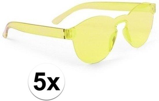 96f539fe7fb439 5x Gele verkleed zonnebril voor volwassenen - Feest party bril geel