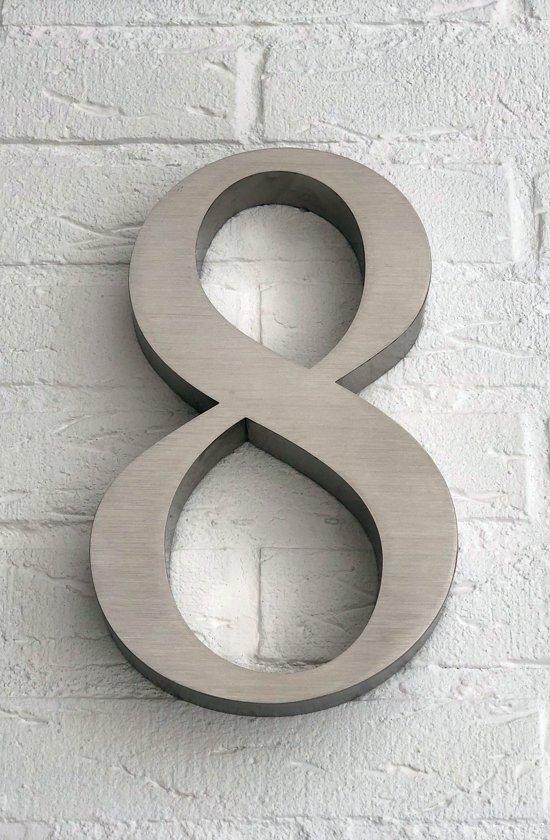 Huisnummer 8 van RVS 3D XL / Hoogte 25 cm / Huisnummer 8 groot.