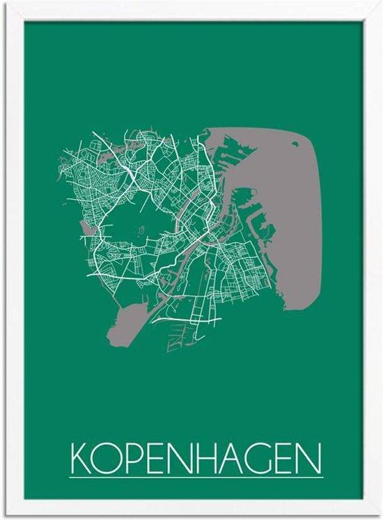 Plattegrond Kopenhagen Stadskaart poster DesignClaud - Groen - A2 + fotolijst wit