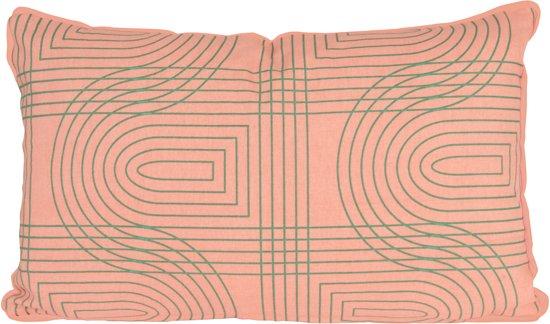 Present Time Retro Grid - Sierkussen - 30x50 cm - Katoen - Roze
