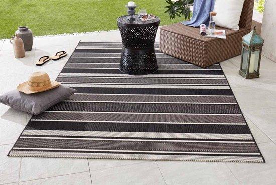 Binnen & buiten vloerkleed Strap - zwart 80x150 cm