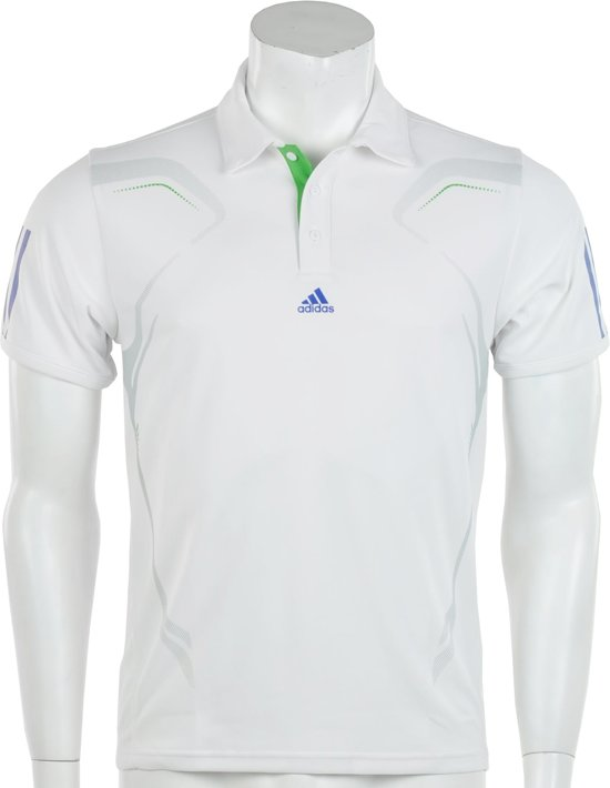 adidas Boys Barricade Polo - Sportpolo - Kinderen - Maat 176 - Wit;Grijs;Groen;Blauw