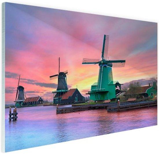 Amsterdamse iconische windmolen Glas 120x80 cm - Foto print op Glas (Plexiglas wanddecoratie)