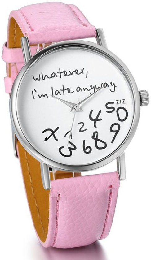 Zoëies® whatever I'm late horloge roze