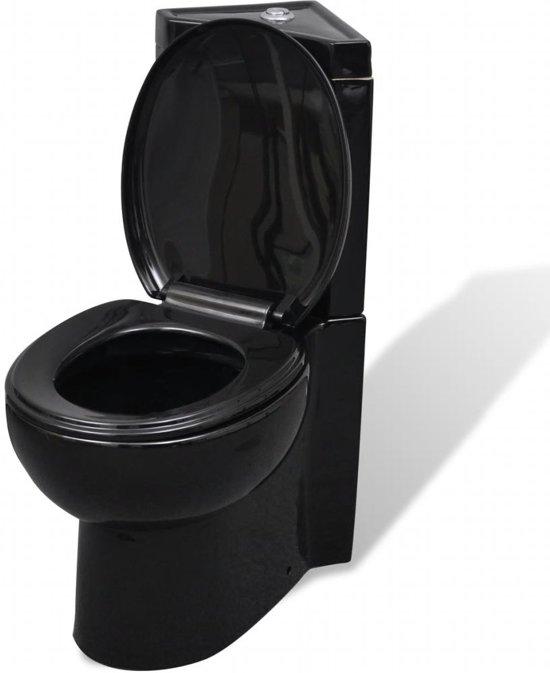 vidaXL Keramisch Toilet voor in de hoek zwart