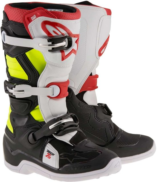 Alpinestars Kinder Crosslaarzen Tech 7S Black/Red/Fluor Yellow-42 (EU)