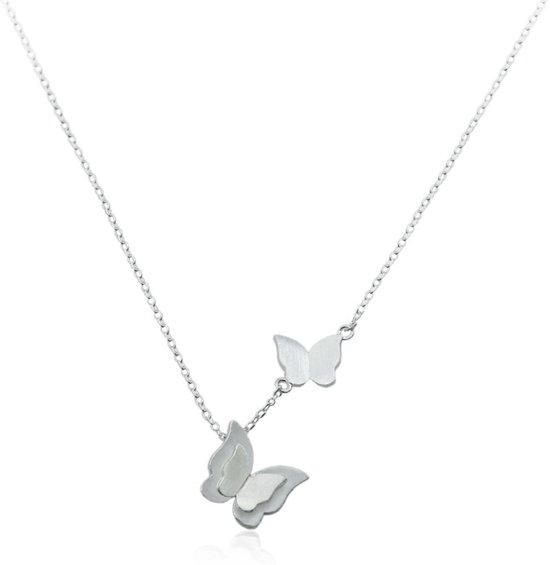kortingscode dichterbij in de uitverkoop 24/7 Jewelry Collection Vlinder Ketting - Vlinders - Geborsteld -  Zilverkleurig