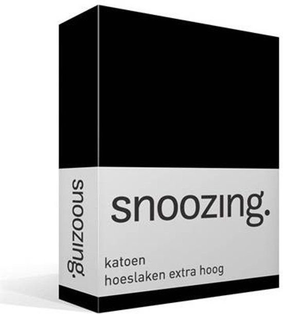 Snoozing - Katoen - Extra Hoog - Hoeslaken - Lits-jumeaux - 200x220 cm - Zwart