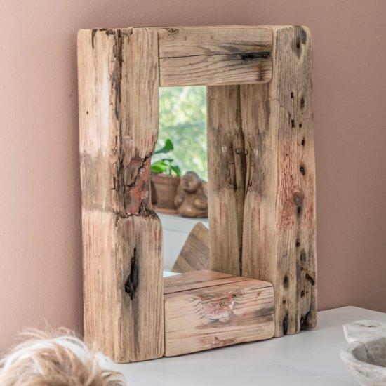 Grote spiegel houten lijst oosterse witte spiegel met in for Houten spiegel