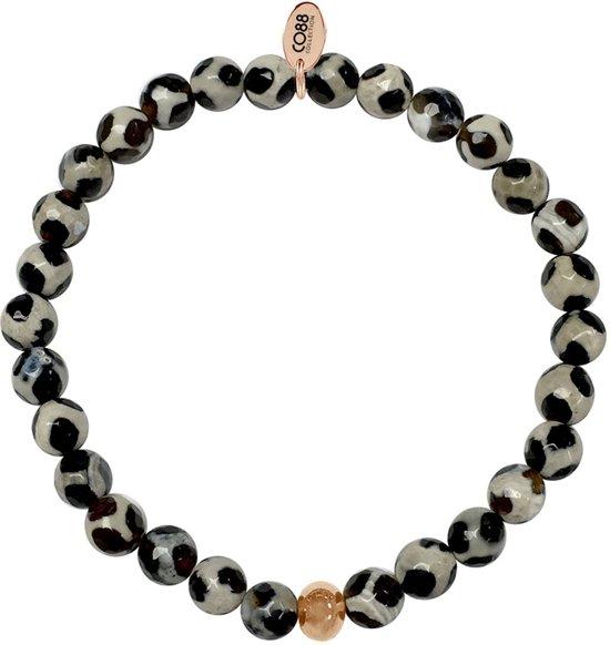 CO88 Collection  8CB-17004 - Natuurstenen - Armband met stalen elementen - Rosékleurig en zwart
