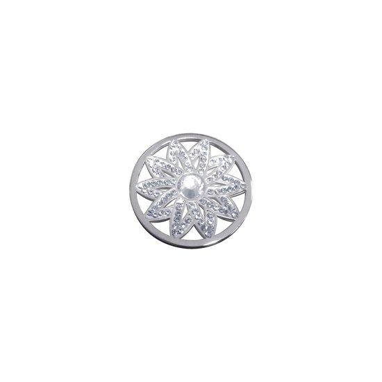 LOCKits 982501851 - Stalen munt - fantasie bloem met kristal - 25-2 mm - zilverkleurig