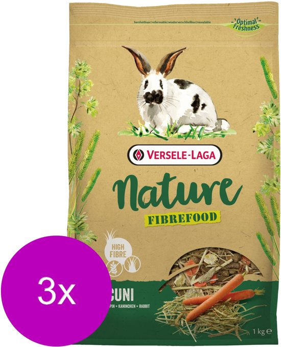 Versele-Laga Nature Cuni Fibrefood - Konijnenvoer - 3 x 1 kg