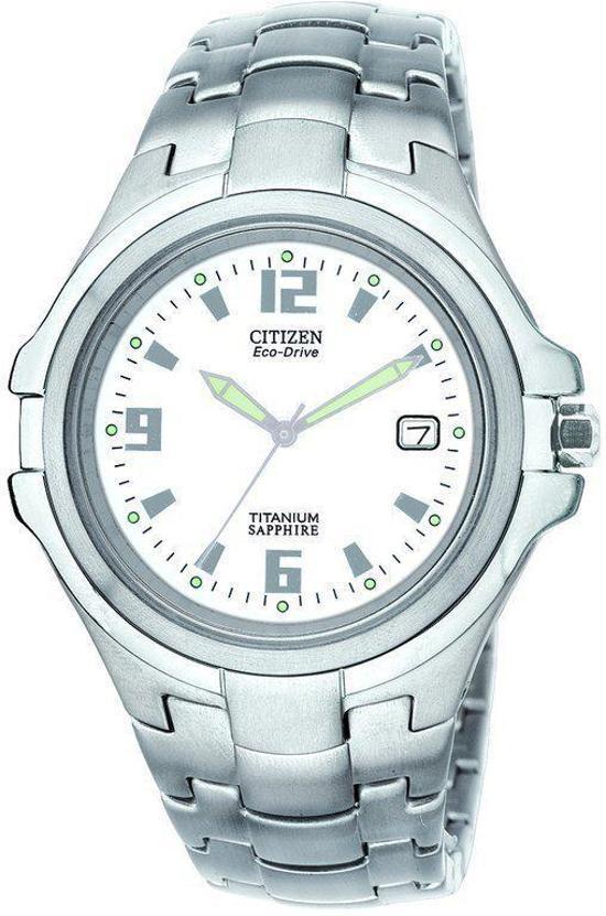 Citizen Super Titanium - Horloge - Titanium - 38 mm - Zilverkleurig / Wit - Solar uurwerk