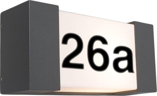 qazqa tide h huisnummer verlichting 1 lichts 14 cm antraciet
