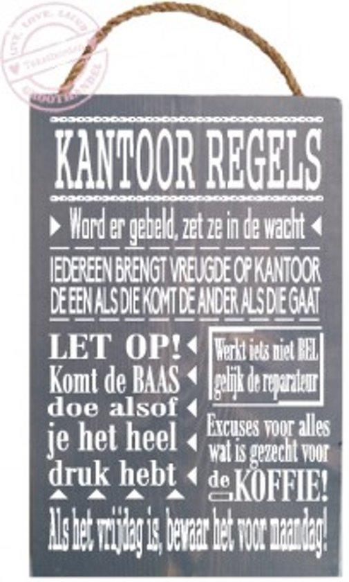 Houten tekstbord kantoor regels - Kantoor houten school ...