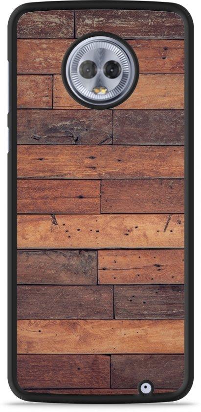 Moto G6 Plus Hardcase Hoesje Houten planken