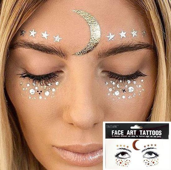 Bolcom Face Tattoos Plak Tattoo Zilver En Goud Tattoo
