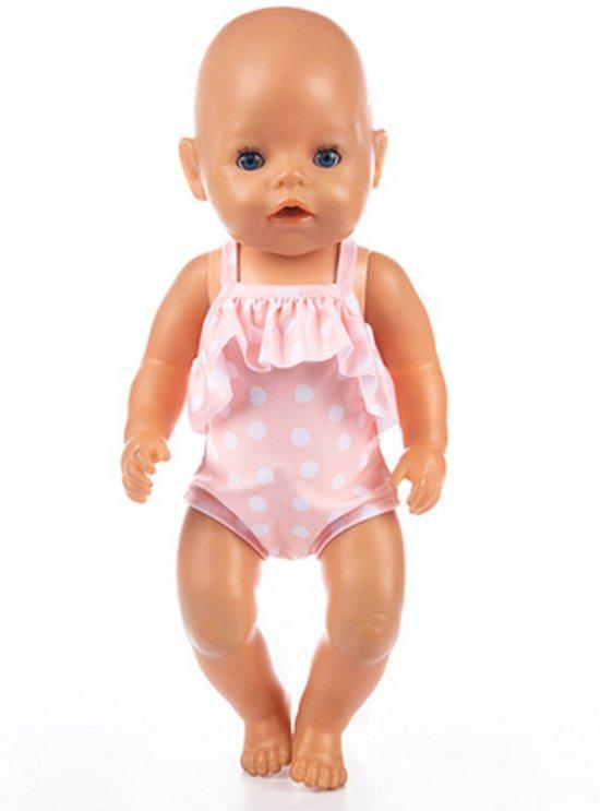 Voor de Pop   Roze met witte stippen badpak   Zwempak   Babyborn   Baby born   Babypop   Pop   Poppenkleertjes   Poppenkleren