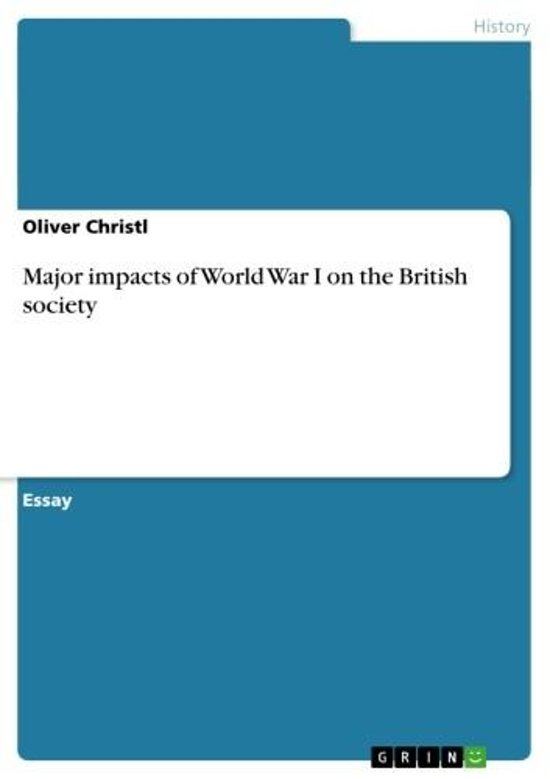Major impacts of World War I on the British society