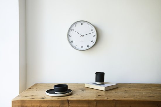 Huygens wall clock one25 stainless steel white arabic
