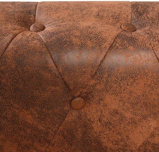 vidaXL Chesterfield 5-zitsbank kunstleer bruin