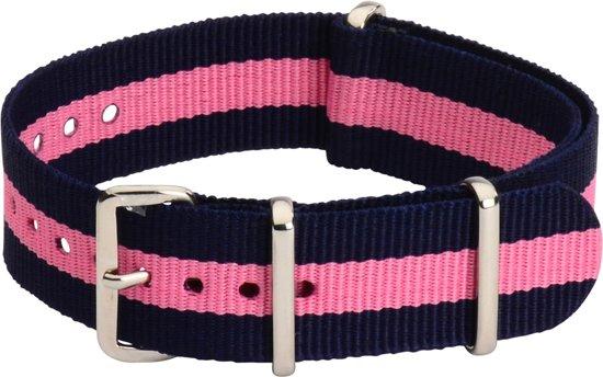 Premium Navy Blue Pink - Nato strap 18mm - Stripe - Horlogeband Blauw Roze + luxe pouch