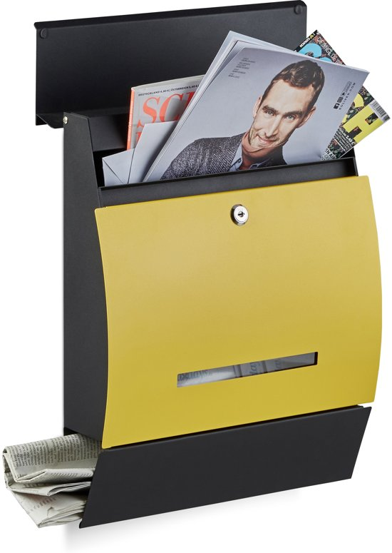 relaxdays brievenbus met krantenrol, postbussen, postbus, verschillende kleuren zwart-geel