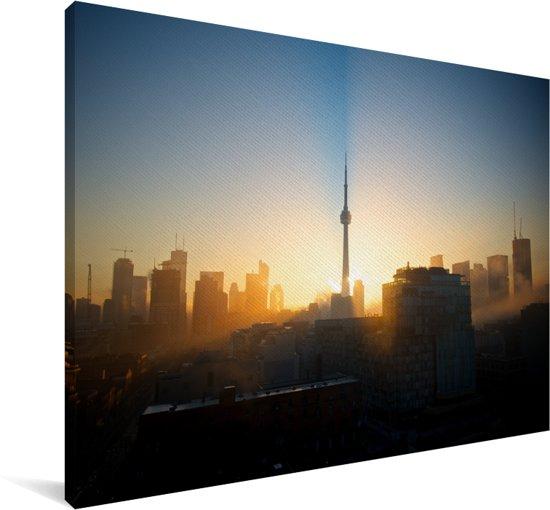 Toronto tijdens een mistige ochtend in Canada Canvas 60x40 cm - Foto print op Canvas schilderij (Wanddecoratie woonkamer / slaapkamer)