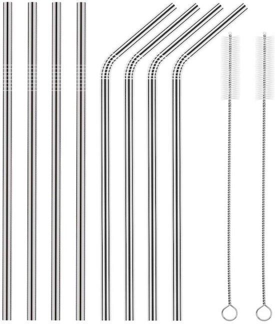 Stalen rvs rietjes herbruikbaar - set 8 stuks lengte 21,5cm (4 recht en 4 gebogen) incl. 2 schoonmaakborsteltjes - stijlvol en duurzaam - een bewust keuze voor het milieu