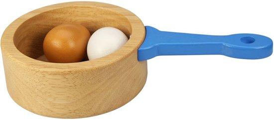 Houten Steelpan met 2 Eieren