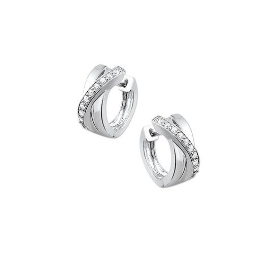 The Jewelry Collection klap-oorringen Zirkonia - Zilver Gerhodineerd
