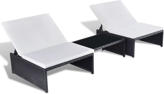 Stoel Verstelbare Rugleuning : Bol vidaxl poly rattan loungeset stoelen en verstelbare